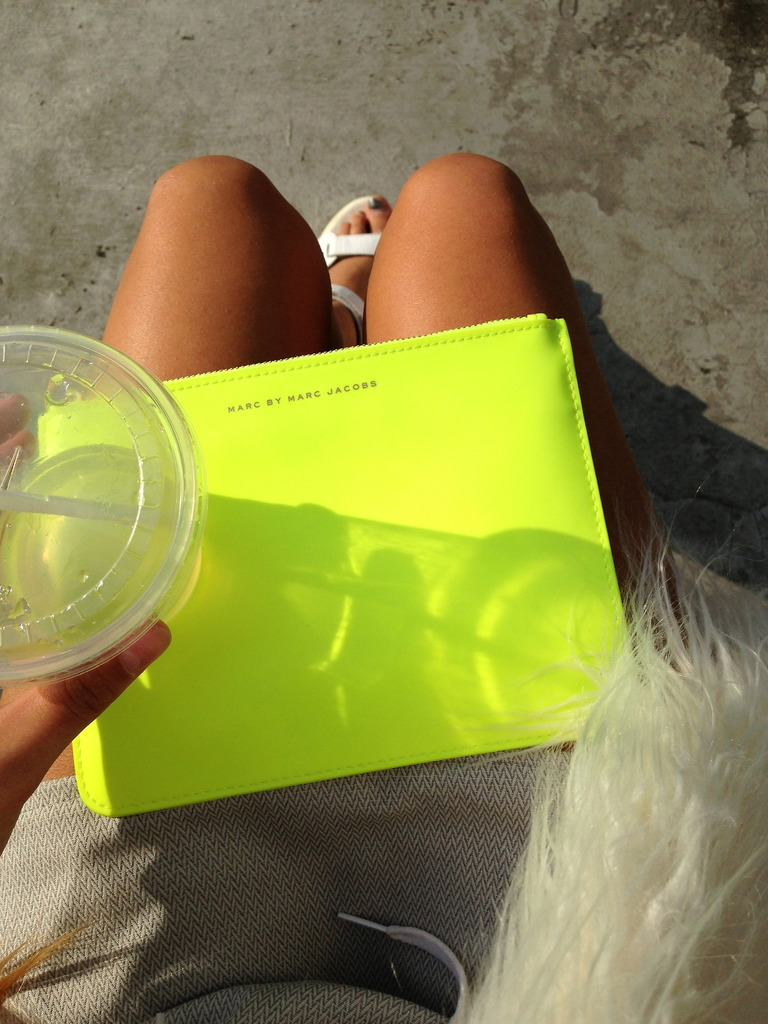 bag, blonde, drink and fashion