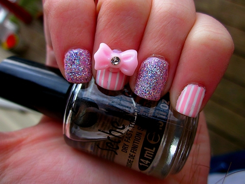 bow, cute, girly and glitter