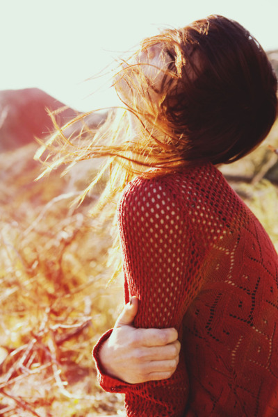 girl, hair, pullover, red, wind