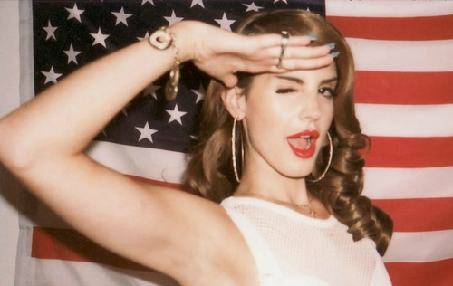 american flag, beautiful, classy, elegant, lana del rey, red white and blue, singer, stars and stripes, usa, wink, old glory, saluting