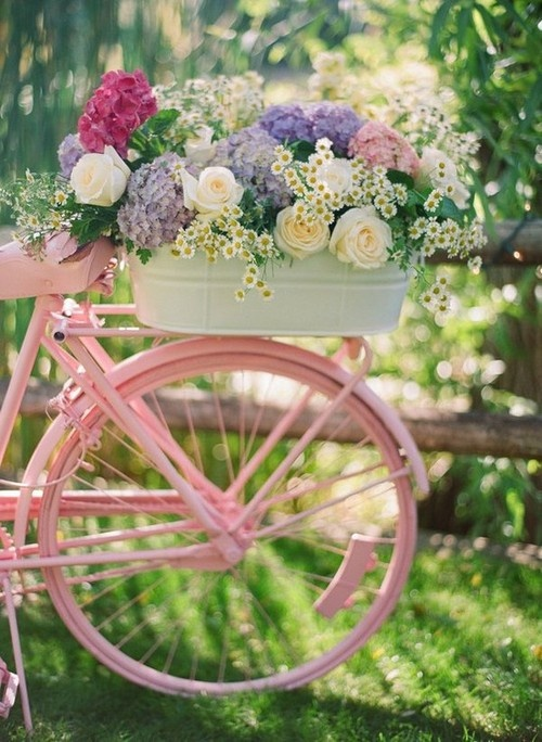 art, bike, cute, fashion, flowers, white, pink