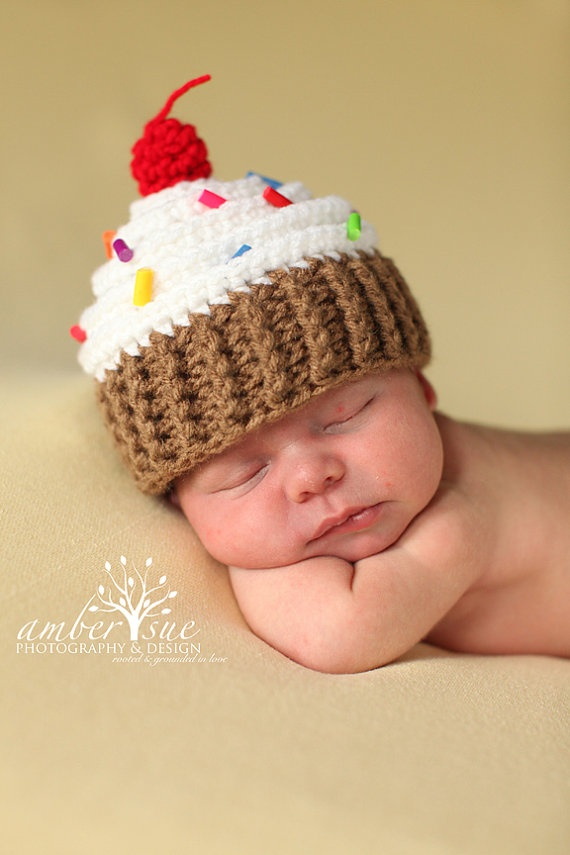 Crochet Newborn : Crochet Cupcake Hat Cake Ideas and Designs