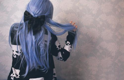 beautiful, blue color, bow, fashion, girl, hair, skulls, style