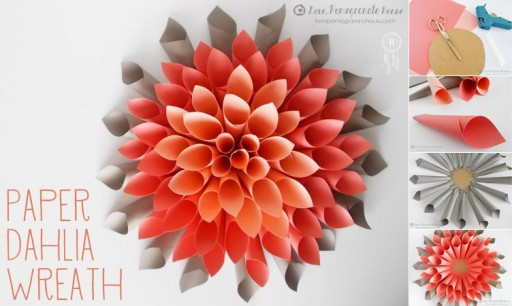 How To Make Paper Beautiful Craft Dahlia Wreath Image 1031849 By
