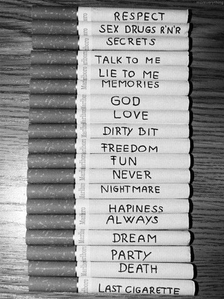 black and white, cigarette, dream, hapiness, love, marlboro, paradise, words