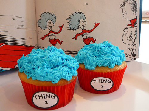 blue, cake, cupcake, cute, dr.seuss, red, sweet, thing 1, thing 2