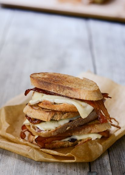 cheese, grilled, bacon and toast