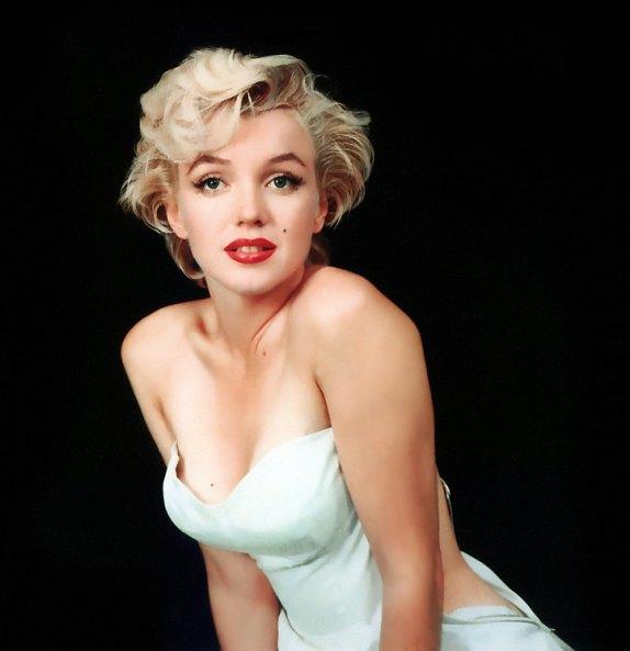 blonde, lipstick, marilyn monroe and red