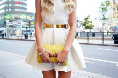 bag, dress, fashion, gold, outfit, style