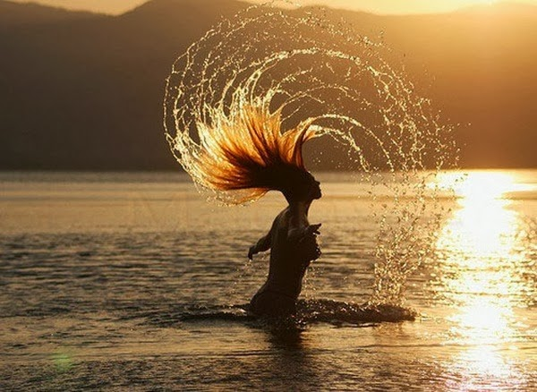 beach, girl, golden hair, sea, sunset, extra nice