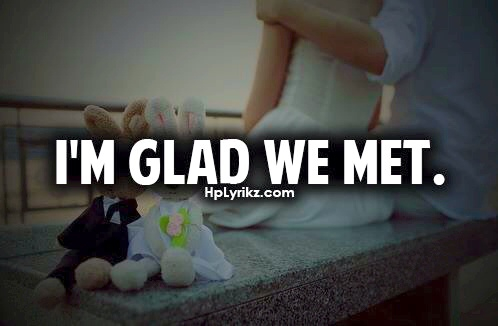 boy, bride, bunny, couple, girl, groom, hug, kiss, love, quote, text, together, we met, wedding, glad we met, i'm glad