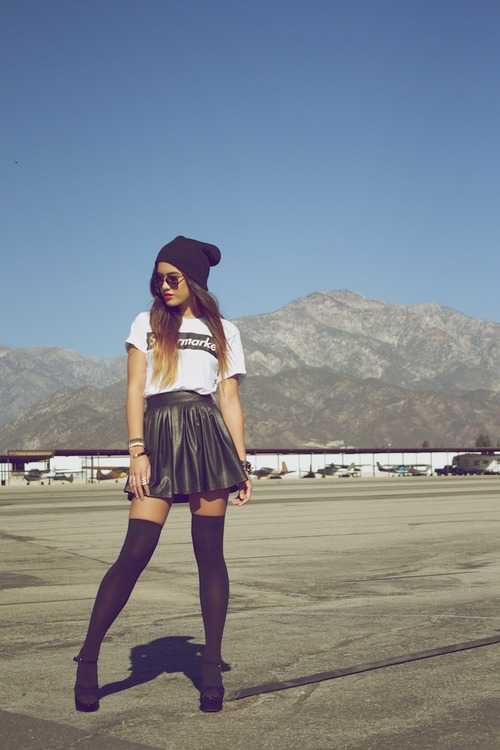 heels, skirt, highlights, indie, fashion, sky, leather, brunette, beanie, girl, dip-dye, disney, hair, hills, pretty, outfit, hype, stockings, style, socks, swag, daylight, airplane, blonde