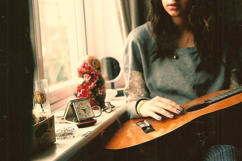 guitar, glass, home, girl, play, clock