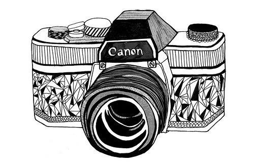 art, black and white, camera, canon, canon camera, cute, draw, love, pepo