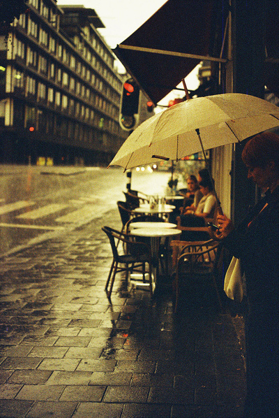 photography, rain, umbrella, day, grey, autumn, cafe