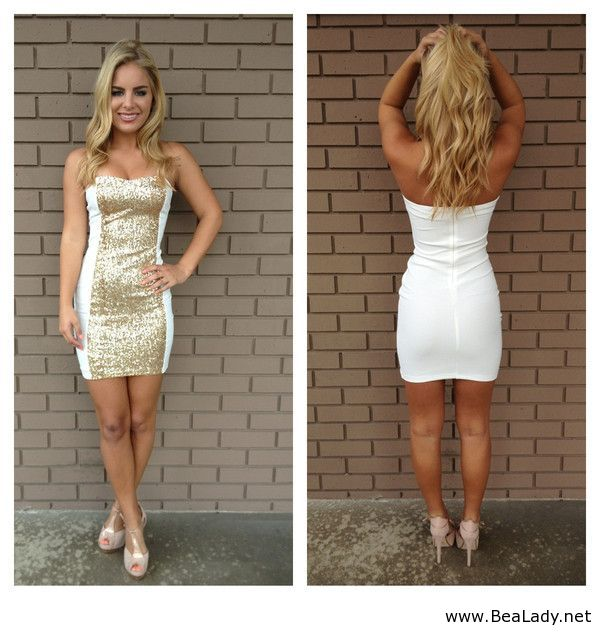 Nice Christmas Party Dresses: Nice White And Gold Short Dress