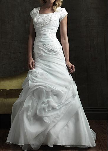 Organza Bridal Gown, Satin Bridal Gown, A-line Bridal Gown and Square Neckline Bridal Gown
