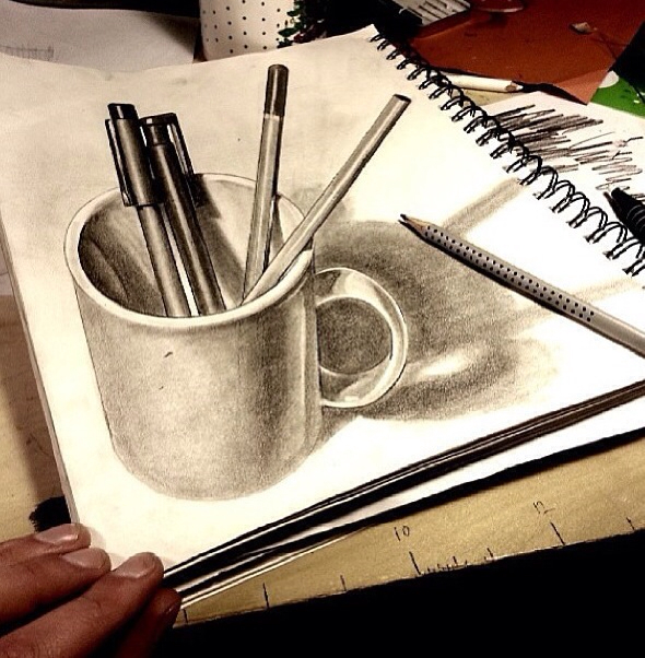 3d art, amazing, cup, drawing, notebook, pencil, talent