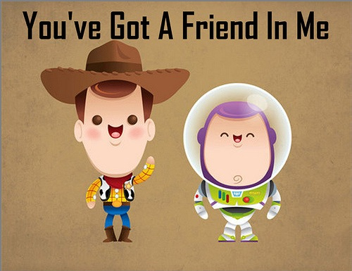 bff, buzz, childhood, cute, disney, friends, friendship, kid, little, lovely, memories, pixar, pretty, toy, toy story, tumblr, woody, you've got a friend in me