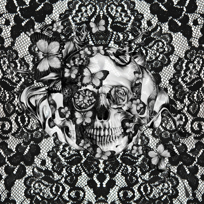 gothic, lace skull, macabre and ornate