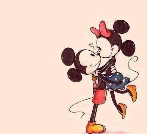 beautiful, cute, kiss, love, tender, mickey y minnie mouse