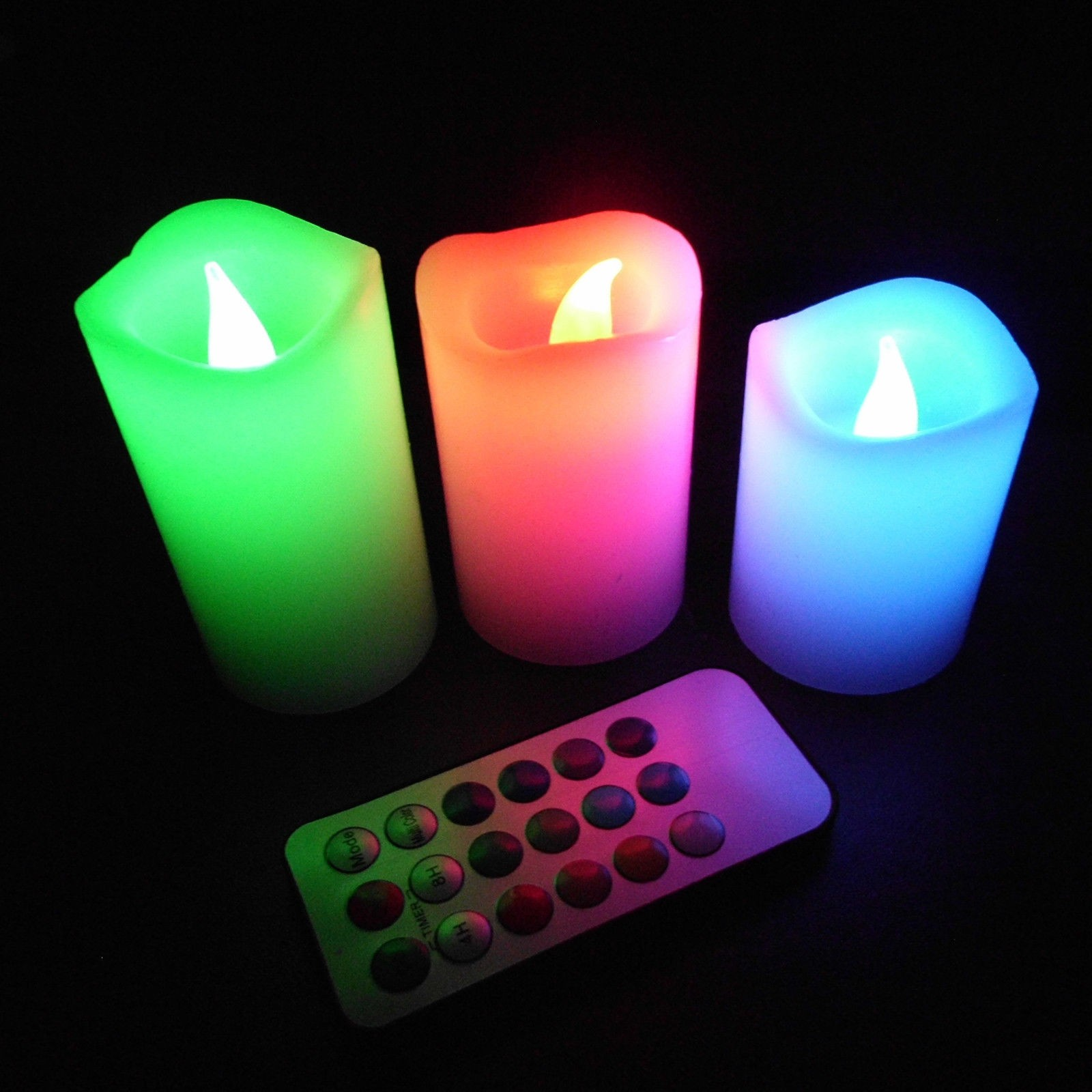3x Colour Changing LED Colorful Flameless Wax Candles Light with Timer /& Remote