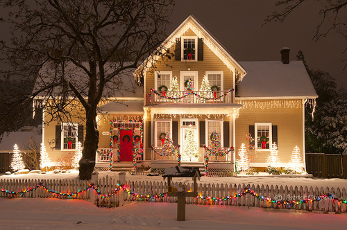 Merry christmas via tumblr image 1207235 by korshun Pictures of houses decorated for christmas outside