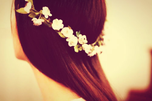 flower crown, flowers, girl and hair