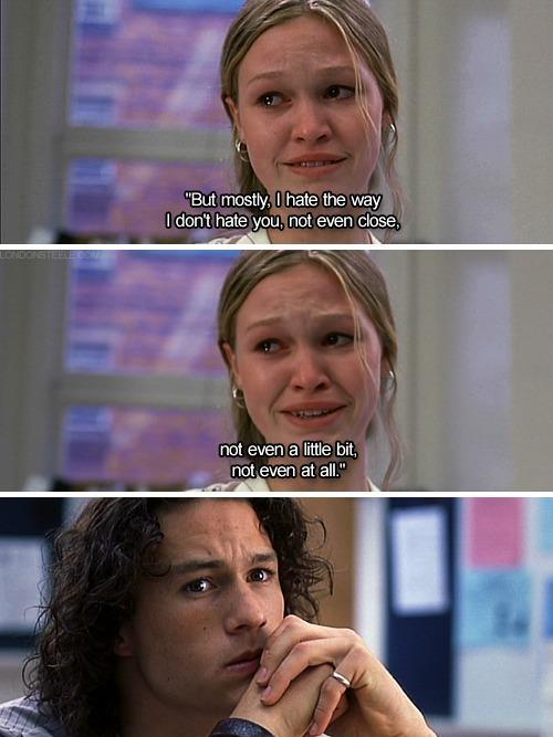 hate, heath ledger, love and movie quotes