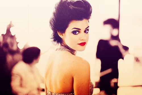 actrice, aria montgomery, beautiful, brune, elegance, fashion, girl, lucy hale, maquillage, perfection, pretty little liars, sepia