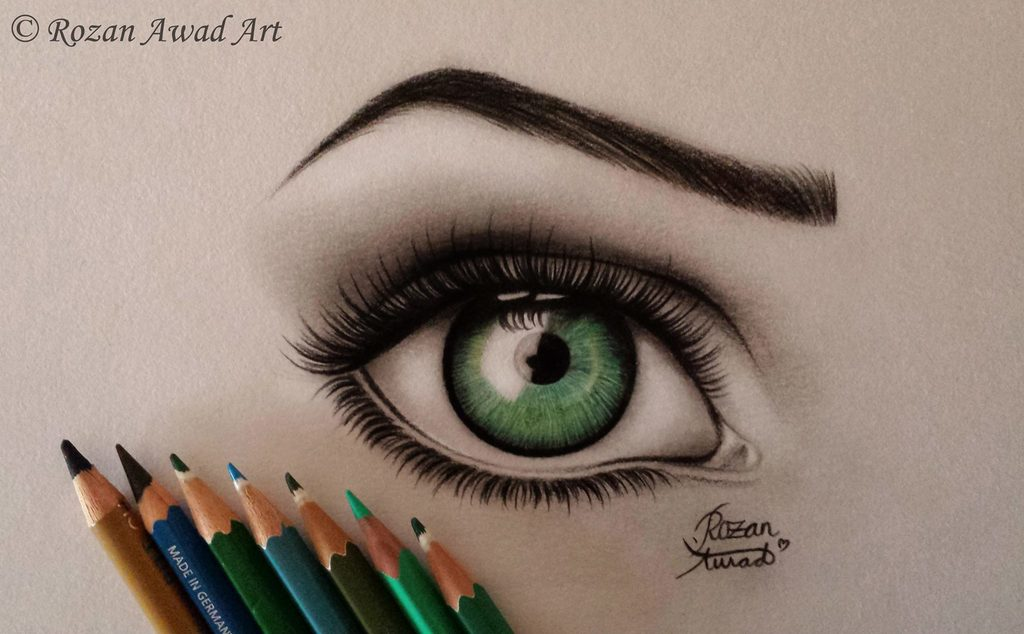 art, colored, drawing and green eye