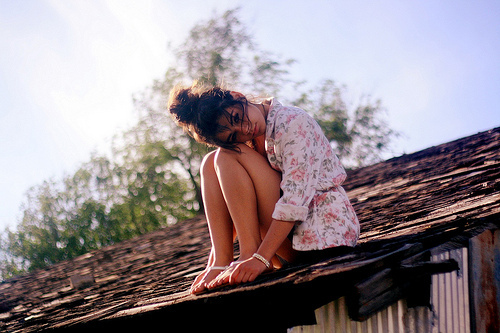 alone, girl, roof and rooftop
