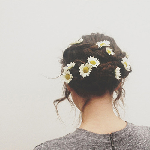 flowers, girl, hair, hipster