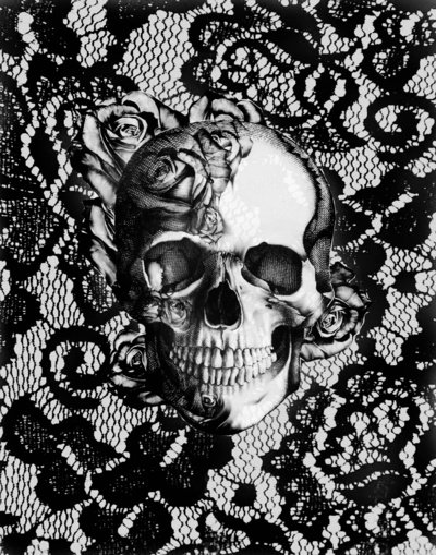 lace, lace skull, rockabilly and rose skull