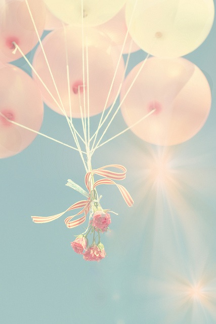 pretty, balloon, flower, love, vintage, beauty, cute, pink, roses, balloons, rose, sky, bright
