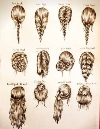 beautiful, braid, bun, curly, cute, dessin, drawing, fashion, fishtail, french braid, hairtsyle, long hair, messy bun, peinados, ponytail, WeddingHair