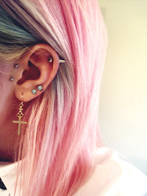 pink hair, cross, scene, pink, hair, ear, hipster, Piercings, pretty, photography, yolo, swag, beautiful, helix, colours, cute