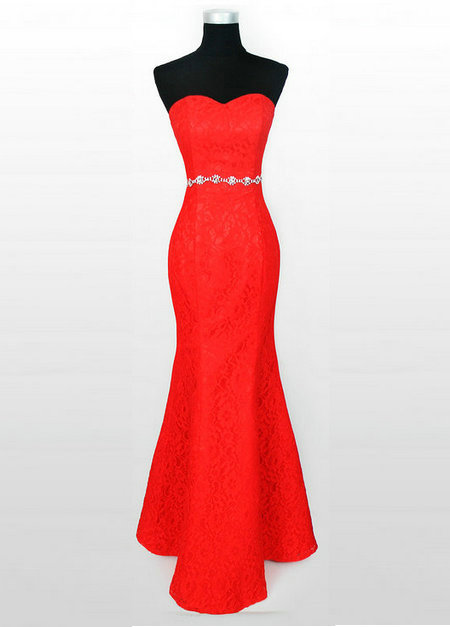 Red One Shoulder Lace Evening Dress Cheap Image