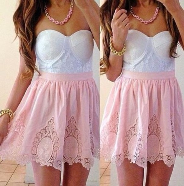 coral, lace, pink skirt and white