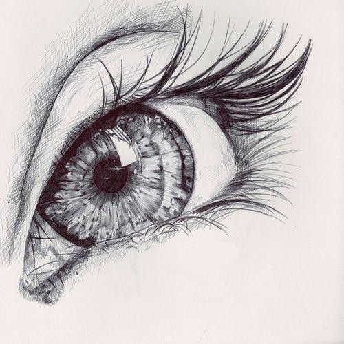 black, drawing, eye, eyelashes, eyeliner, girl