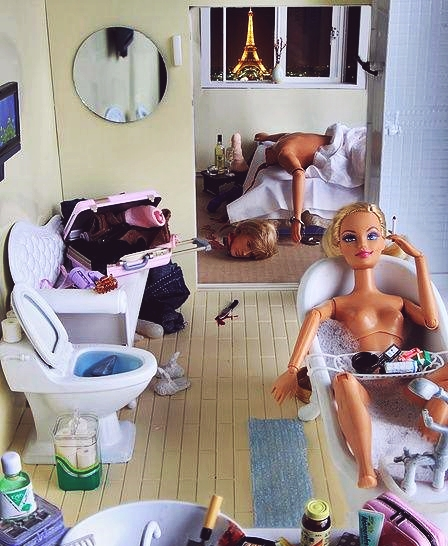alcohol, barbie, bath, bed, fun, girl power, house, ken, killed, miranda lambert, paris, party hard, smoke, sextoy hi