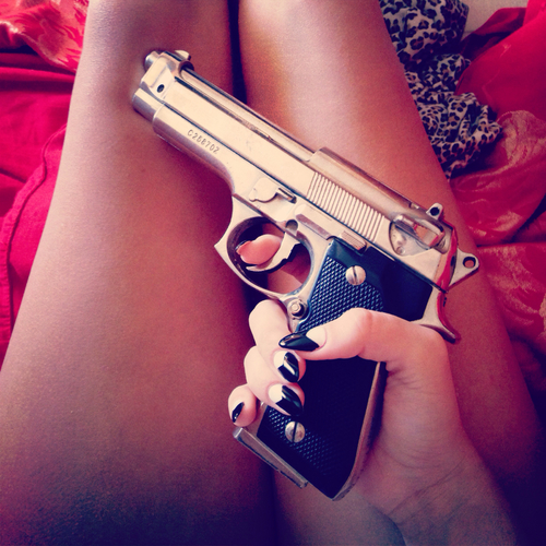 bad, badass, brown, crime, diva, girl, gun, hot, legs, mad, nails, pistol, sexy, silver, <3
