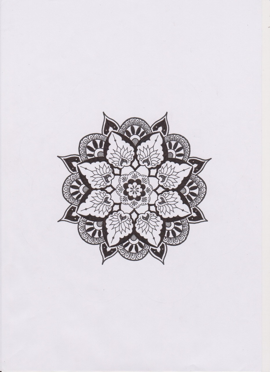 black, draw, mandala and white