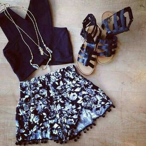 black, crop top, floral, lace shorts, necklace, outfit, sandals, summer