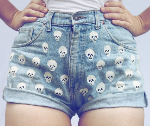 High Waisted Denim Blue Shorts Distressed HipsterGrunge