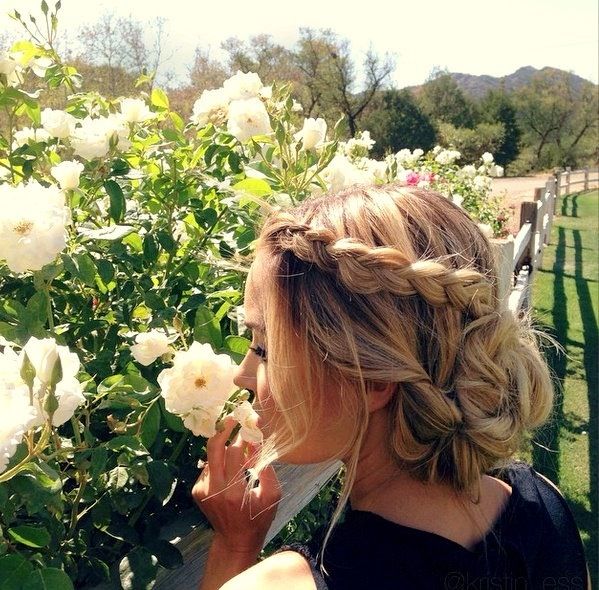 flowers, girl, hair, hairstyle, nature