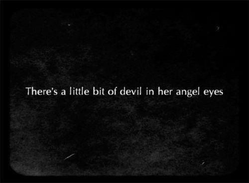 angel, devil, eyes and quotes